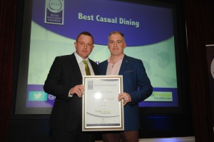 1518 Fergal Doyle from Rachels Garden Cafe receiving Best Casual Dining Carlow, presented by  John Cunningham of Total Produce